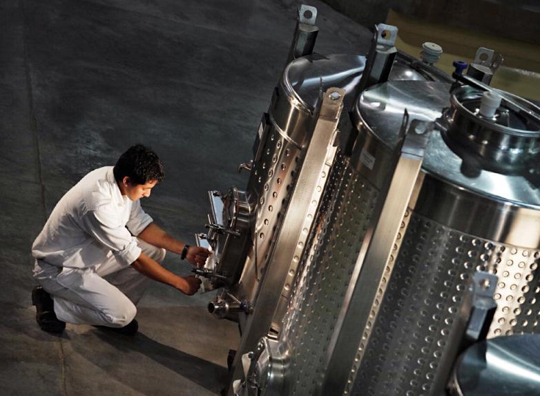 Tanques de aço inoxidável, com controle de temperatura, usados na fermentação dos vinhos