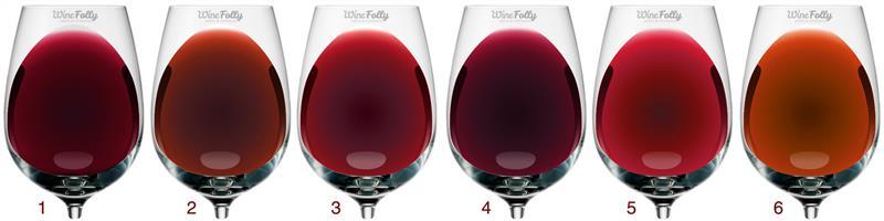 As diferentes tonalidades dos vinhos tintos no decorrer da vida - do púrpura escuro ao âmbar claro