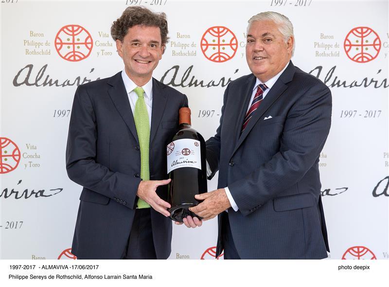 Philippe Sereys de Rothschild e Alfonso Larrain Santa Maria, presidentes, respectivamente, das casas Rothschild e Concha y Toro
