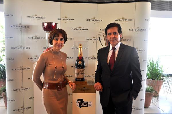 Viviane Senna, do Instituto Ayrton Senna e Sergio Degese, presidente da Moët&Chandon no Brasil